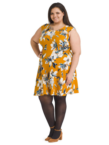 Mustard Floral Fit And Flare Dress
