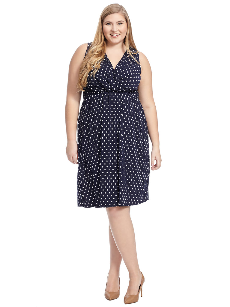 Adoring Outcome Knit Polka Dot Midi Dress