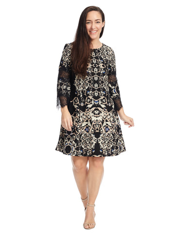 Lace Sleeve Geometric A-Line Dress