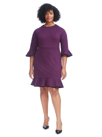 Bell Sleeve Plum Dress