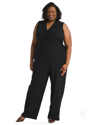 Crepe Faux Wrap Jumpsuit