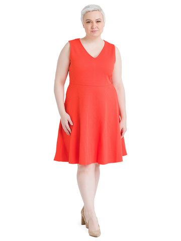 Sleeveless Orange Bright Fit And Flare Dress