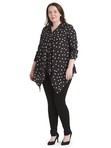 Asymmetric Hem Polka Dot Top