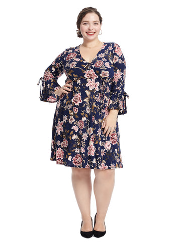 Tie Sleeve Floral Dress
