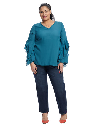 Ruffle Sleeve Teal Top
