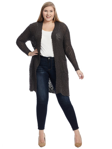 Pointelle Charcoal Duster Cardigan