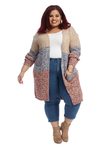 Marled Colorblock Duster Cardigan