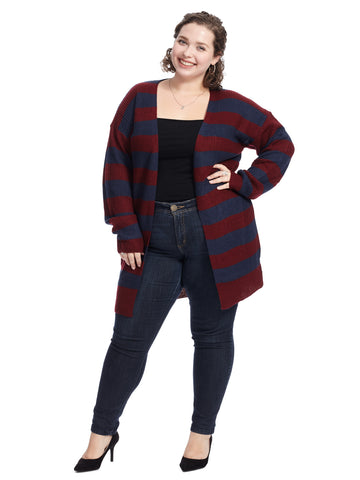 Burgundy And Navy Stripe Cardigan