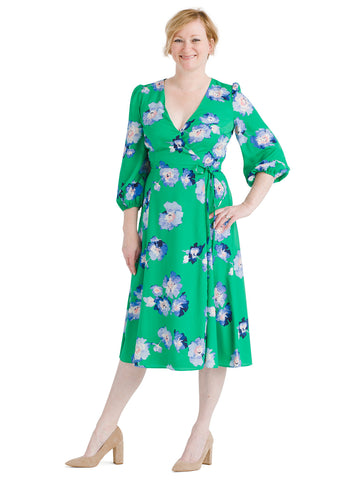 Blue And Green Floral Faux Wrap Midi Dress