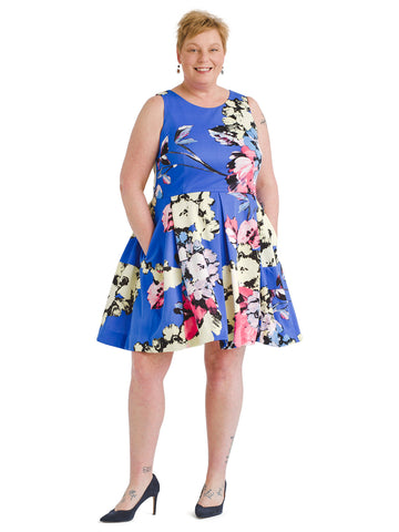 Blue Floral Scuba Fit And Flare Dress