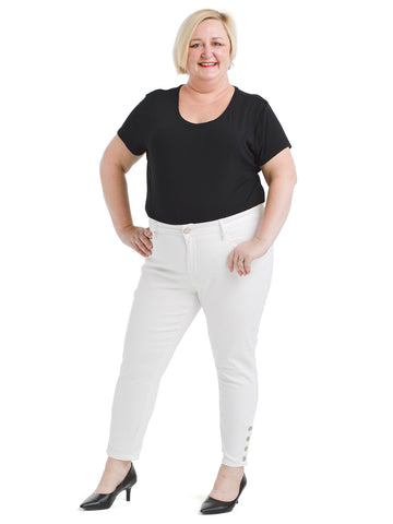 Mid Rise Snap Skinny Jeans