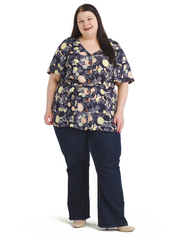 Belted Navy Floral Tunic