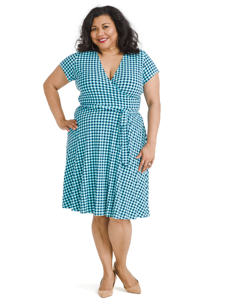 Blue Gingham Perfect Faux Wrap Dress