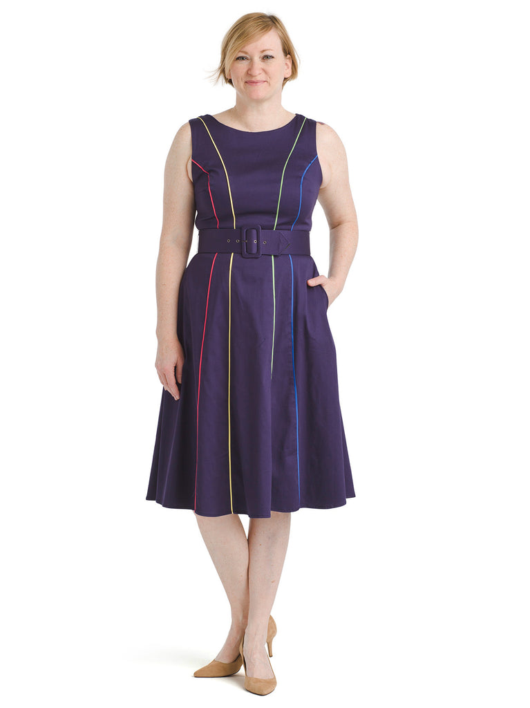 Piped Navy Midi Dress