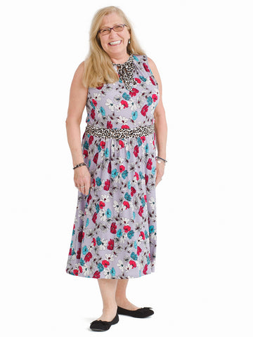 Field Floral Cheetah Tie Mindy Dress