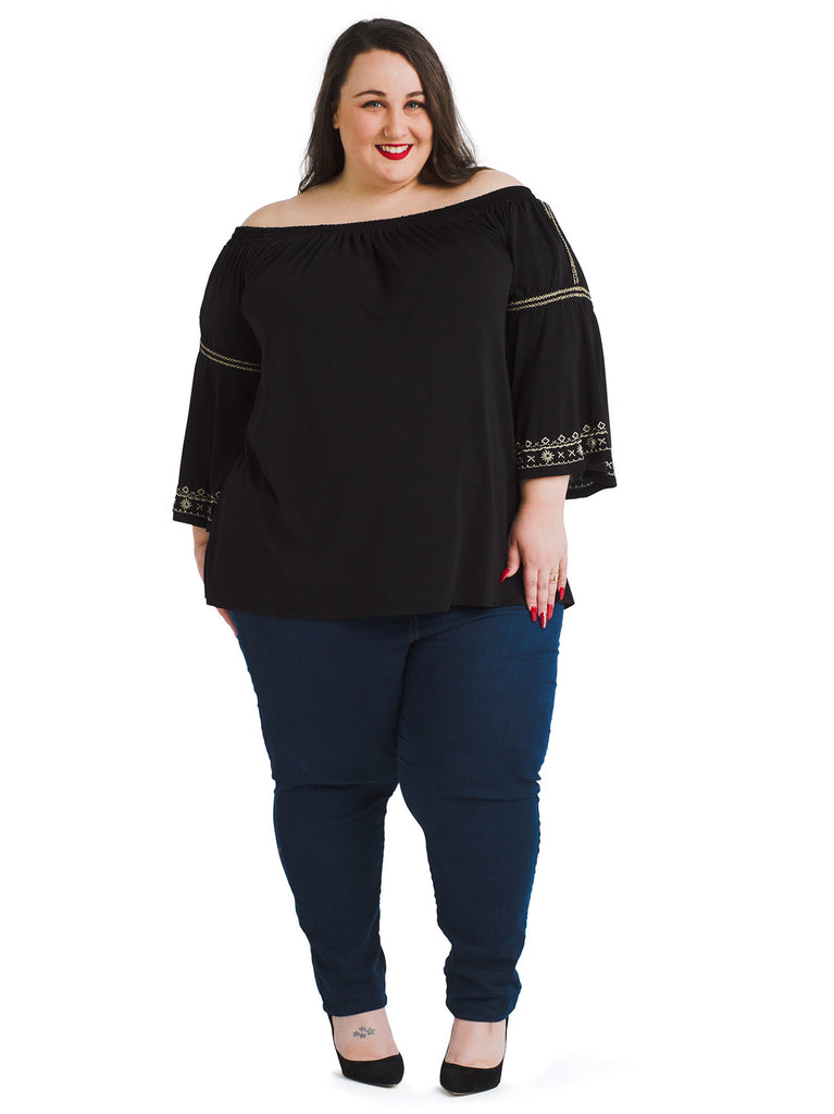 Embroidered Bell Sleeve Convertible Top