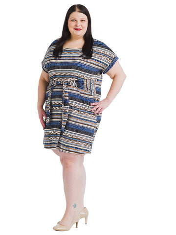 Blue Geometric Print Dress