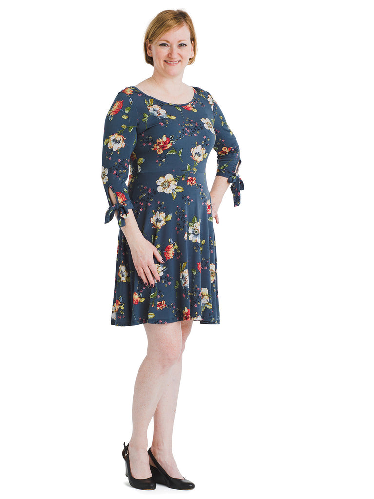 Tie Sleeve Blue Floral Fit And Flare Dress