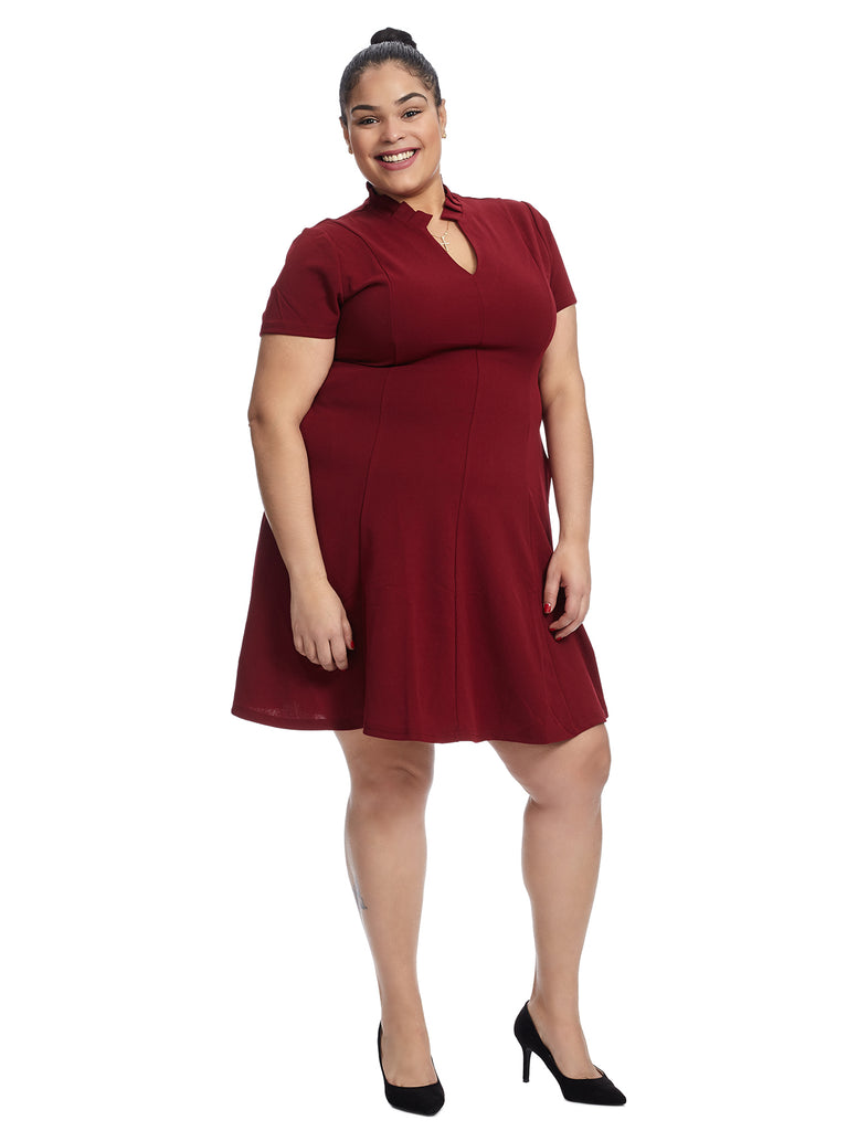 Ruffle Neck Burgundy Fit And Flare Dress