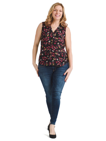Sleeveless Twilight Ditsy V-Neck Top