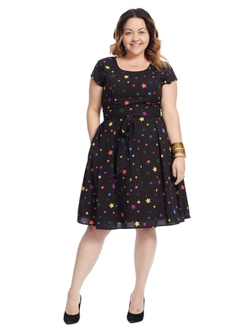 Tie Waist Star Print Fit And Flare Dress