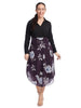Curved Hem Purple Floral Midi Skirt
