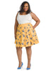 Yellow Cat Print Skirt