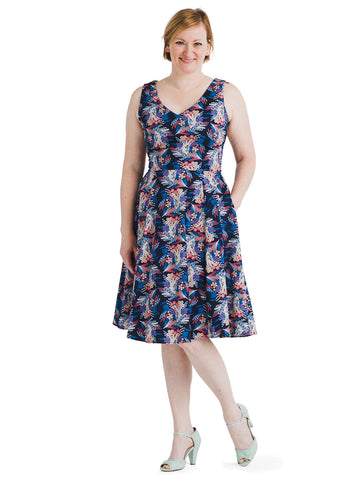 Navy And Pink Floral Print Fit And Flare Dress