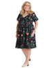 Surplice Floral Fit And Flare Dress