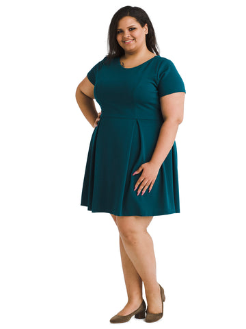Short Sleeve Hunter Green Fit And Flare Dress