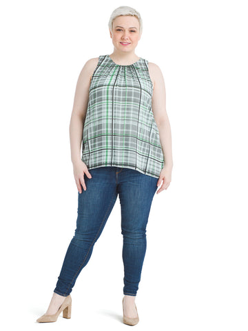 Sleeveless Plaid Blue Shades Top