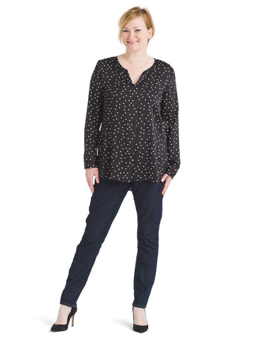 Long Sleeve Polka Dot Split Neck Top