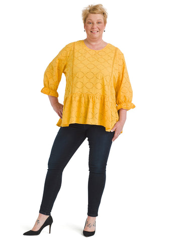 Peplum Mustard Yellow Top