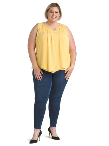 Embroidered Yoke Sleeveless Mustard Top