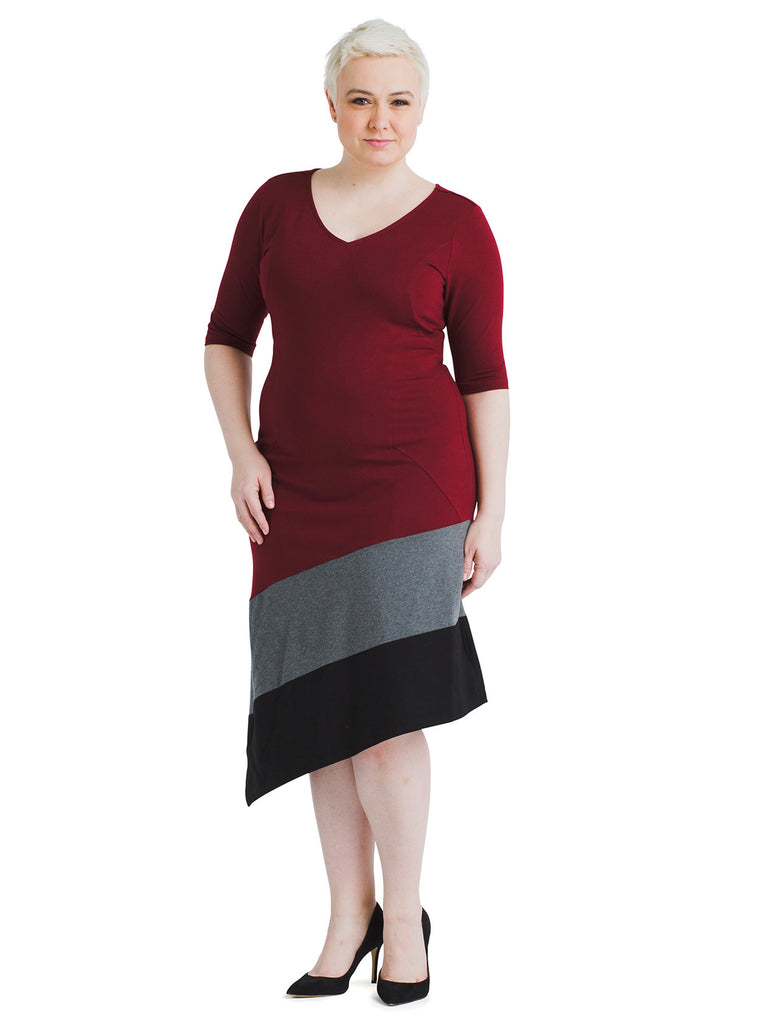 Asymmetrical Hem Burgundy Dress