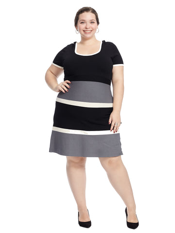 Colorblock Fit And Flare Sweater Dress