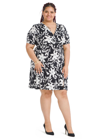 Short Sleeve Faux Wrap Dress