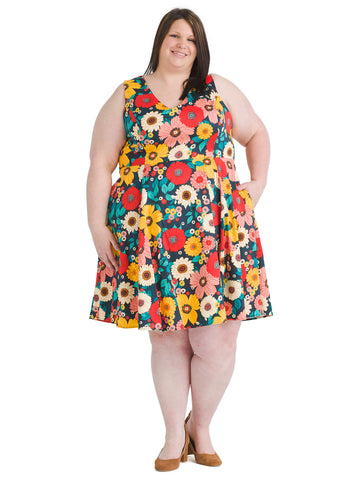Multi Sunflower Fit And Flare Dress