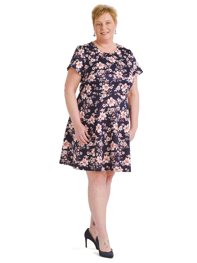 Floral Print Scuba Fit And Flare Dress