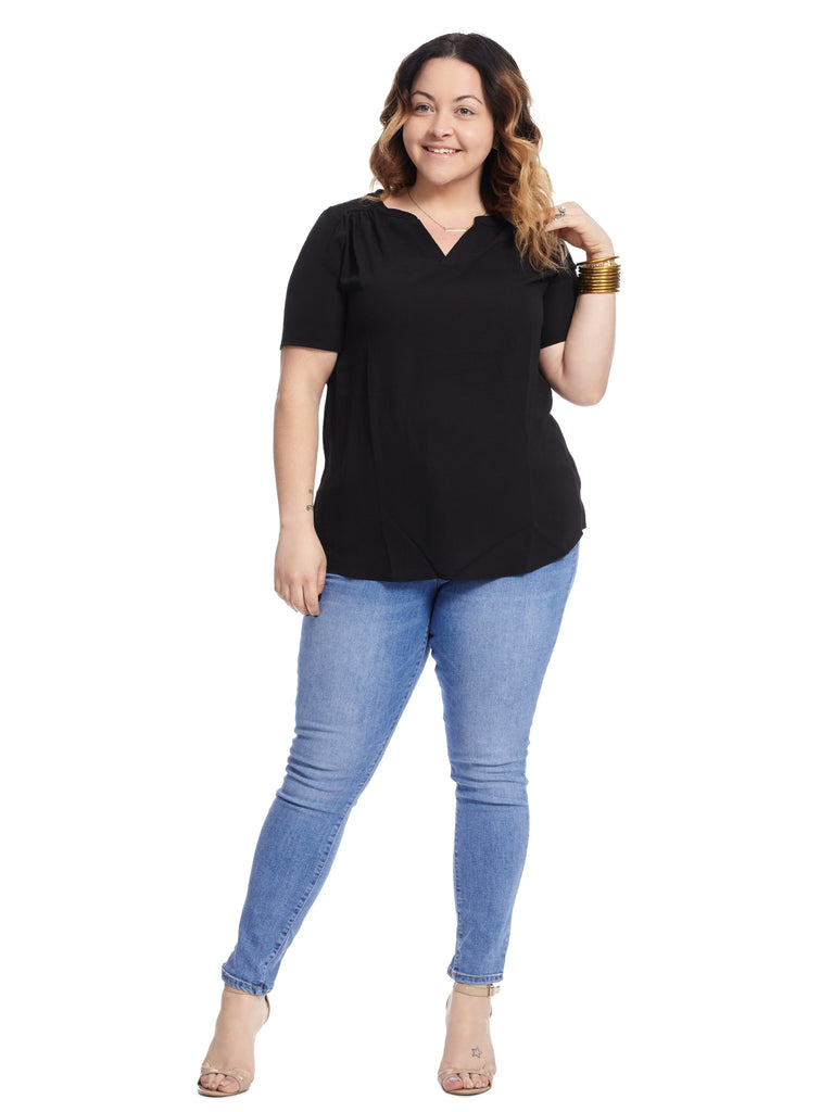 Notch Neck Black Short Sleeve Top