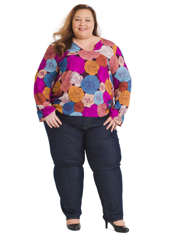 Bell Sleeve Multi Floral Top