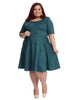 Hunter Green Fit And Flare Dress