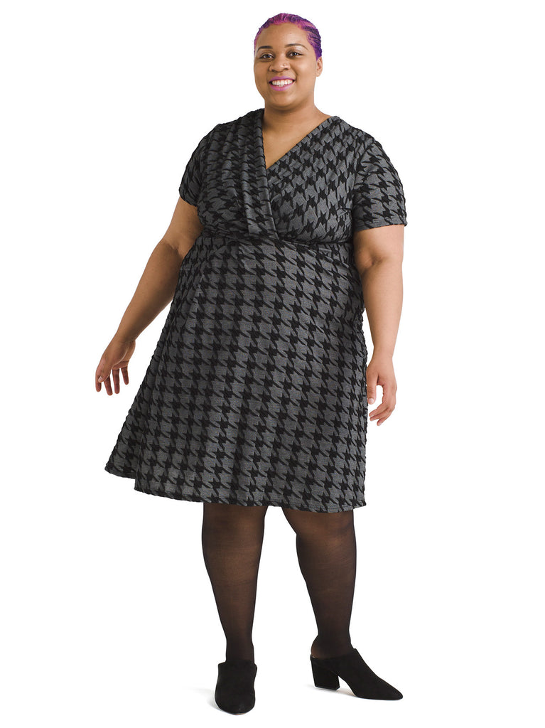 Surplice Houndstooth Dress
