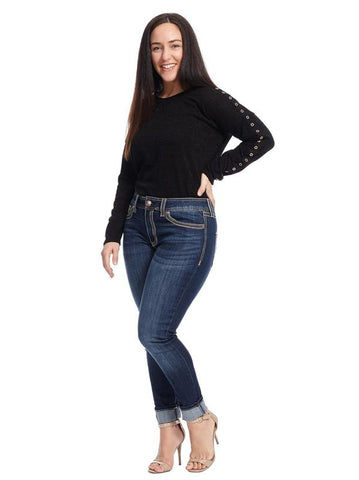 Stitched Pocket Rocker Skinny Jeans