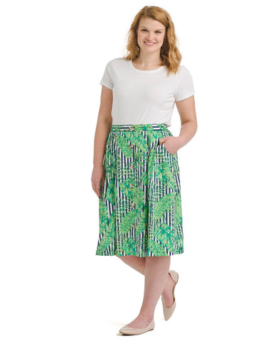 Tropical Leaves Front Button Skirt