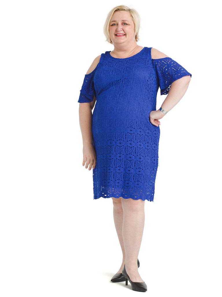 Cold Shoulder Cobalt Lace Dress