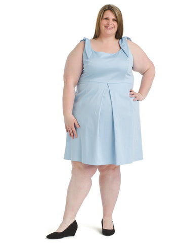 Tie-Shoulder Baby Blue Fit And Flare Dress