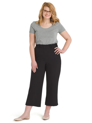 Black Crepe Crop Pants