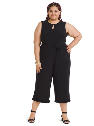 Ruffle Hem Black Cropped Jumpsuit