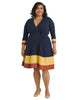Color Block Hem True Wrap Dress